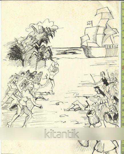 Naif El çizimi Bir Savaş Sahnesi Efemera ürün Kitantik