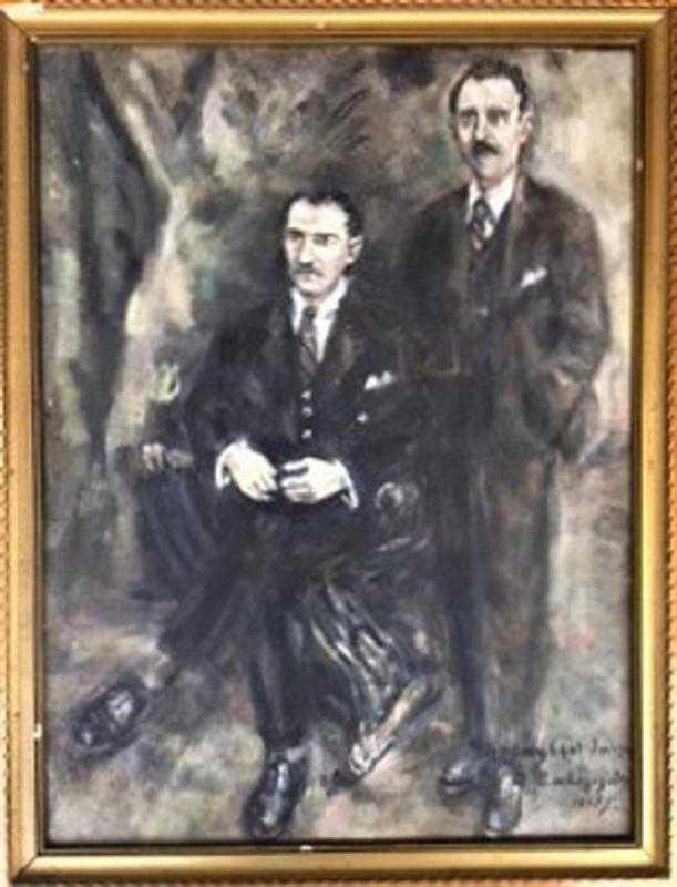 Mustafa Kemal Atatürk Ve Ismet Inönü Siyah Beyaz Yagli Boya Imzali