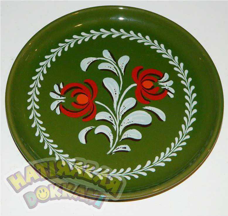 El Boyama Cicek Desenli Dekoratif Seramik Tabak Antika Urun