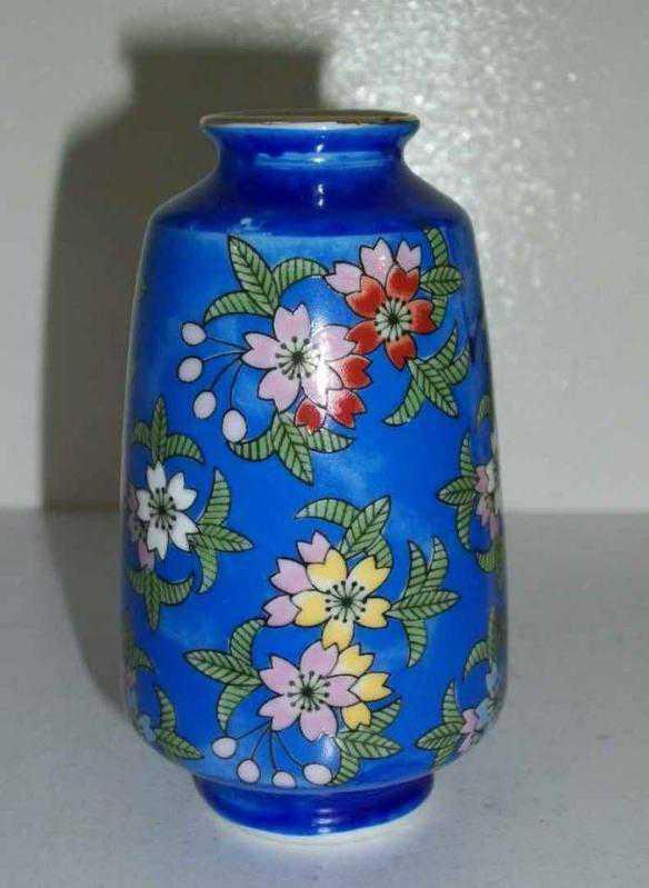 El Boyama Porselen Mini Vazo Mavi Antika ürün Kitantik